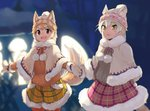 2girls alternate_costume animal_ears brown_eyes cat_(kemono_friends) cat_ears cat_tail cloak dog_(kemono_friends) dog_ears dog_tail ears_through_headwear extra_ears eyebrows_visible_through_hair fur_collar fur_trim hat holding_hands kemono_friends kemono_friends_festival light_brown_hair long_sleeves mittens multicolored_hair multiple_girls neck_ribbon plaid plaid_shorts plaid_skirt ribbon rumenia_(ao2is) short_hair shorts skirt sweater tail white_hair winter_clothes yellow_eyes