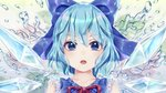 1girl :o adapted_costume bare_shoulders blue_bow blue_eyes blue_hair blue_wings bow cirno collarbone commentary_request dtvisu eyebrows_visible_through_hair frills hair_between_eyes hair_bow ice ice_wings looking_at_viewer open_mouth portrait red_neckwear red_ribbon ribbon short_hair sleeveless solo touhou water wings