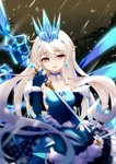 1girl absurdres bangs bare_shoulders benghuai_xueyuan blue_choker blue_dress blue_eyes blue_gloves choker covered_navel crown dress elbow_gloves eyebrows_visible_through_hair fufumi fur_trim gloves hair_between_eyes highres honkai_impact ice icicle kiana_kaslana long_hair looking_at_viewer open_mouth solo staff strapless strapless_dress symbol-shaped_pupils very_long_hair white_hair winter_princess_(honkai_impact)
