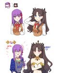 2girls absurdres anklet appleale19 armlet asymmetrical_sleeves bangs black_hair black_ribbon blue_eyes breasts bridal_gauntlets crown detached_collar earrings elbow_gloves fate/grand_order fate/stay_night fate_(series) flower gameplay_mechanics gloves hair_flower hair_ornament hair_ribbon highres homurahara_academy_uniform hoop_earrings indian_clothes ishtar_(fate/grand_order) jewelry long_hair matou_sakura multiple_girls neck_ring necklace parted_bangs parvati_(fate/grand_order) purple_eyes purple_hair red_eyes ribbon single_elbow_glove single_thighhigh smile sweater thighhighs tiara toosaka_rin turtleneck two_side_up