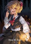 1girl :d absurdres ascot blonde_hair candy commentary food hair_ribbon highres long_sleeves open_mouth pointy_ears red_eyes ribbon rumia shirt short_hair skirt smile solo touhou trick_or_treat vest white_shirt yasei_akazome