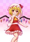 1girl :d ascot bangs blonde_hair blush checkered checkered_background commentary covering_mouth eyebrows_visible_through_hair flandre_scarlet frilled_skirt frills gradient gradient_background grin hair_between_eyes hand_over_own_mouth hat hat_ribbon highres looking_at_viewer mob_cap morokoshi_(tekku) one_side_up open_mouth puffy_short_sleeves puffy_sleeves red_eyes red_skirt red_vest ribbon short_hair short_sleeves simple_background skirt skirt_set smile solo teeth touhou vest yellow_neckwear