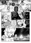 1girl bowsette bracelet breasts campfire collar comic commentary crown disembodied_head english_commentary english_text greyscale highres horns jewelry left-to-right_manga long_hair mario_(series) monochrome new_super_mario_bros._u_deluxe night ponytail ruins spiked_armlet spiked_bracelet spiked_collar spiked_shell spikes super_crown tail tony_kuusisto