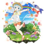 1girl :d animal_ears blue_eyes blue_hair blue_sky cat_ears cat_tail cloud day dress_shirt flower full_body hair_ribbon hat hat_flower highres holding holding_wand leg_up looking_at_viewer official_art open_mouth orange_flower orange_ribbon orange_shorts outdoors outstretched_arms plaid plaid_shorts ribbon shirt short_hair_with_long_locks short_shorts short_sleeves shorts sidelocks sinon sinon_(sao-alo) sky smile solo standing standing_on_one_leg sun_hat sword_art_online tail tail_ribbon transparent_background wand white_ribbon white_shirt yellow_headwear yellow_neckwear