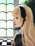 1girl blonde_hair checkered checkered_floor chin_strap expressionless gosick gothic_lolita hairband highres lips lolita_fashion lolita_hairband long_hair medeakn profile realistic solo victorica_de_blois window