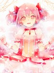 1girl arms_at_sides blurry blush bokeh breasts bubble_skirt choker collarbone commentary depth_of_field english_commentary eyebrows_visible_through_hair frilled_skirt frills gloves glowing hair_ribbon kaname_madoka light_smile looking_at_viewer mahou_shoujo_madoka_magica parted_lips petals pink_eyes pink_hair pink_theme puffy_short_sleeves puffy_sleeves red_choker red_neckwear red_ribbon red_theme ribbon shiu_(pika) short_hair short_sleeves short_twintails skirt small_breasts solo soul_gem teeth twintails upper_body upper_teeth white_gloves
