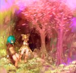 2girls animal_ears aqua_hair bangs bare_legs bare_shoulders blonde_hair bow bowtie cat_ears cave closed_eyes closed_mouth commentary_request darandy day elbow_gloves expressionless flower full_body gloves hair_between_eyes highres hood hood_down hoodie kemono_friends leaf leaning_back long_hair long_sleeves multiple_girls no_pants outdoors sand_cat_(kemono_friends) scenery shirt short_hair sitting skirt sleeveless sleeveless_shirt snake_tail standing striped_tail tail tree tsuchinoko_(kemono_friends)