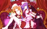 2girls asymmetrical_hair asymmetrical_wings back-to-back bakanoe bat_wings black_legwear blonde_hair couch dress flandre_scarlet flower from_side hair_between_eyes highres lavender_hair light_smile looking_at_viewer mob_cap multiple_girls pink_dress red_dress red_eyes red_rose remilia_scarlet rose short_hair side_ponytail smile thighhighs touhou white_legwear wings wrist_cuffs zettai_ryouiki