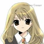 1girl brown_eyes brown_hair character_name harry_potter hermione_granger koge_donbo long_hair necktie open_mouth school_uniform solo
