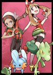 1boy 1girl :d bare_arms bike_shorts bike_shorts_under_shorts black_border black_shorts border bracelet breasts brown_hair dark_skin dark_skinned_male eyelashes fanny_pack gen_3_pokemon grin hairband haruka_(pokemon) hat head_tilt holding holding_poke_ball io_naomichi jewelry long_hair looking_at_viewer mudkip open_mouth poke_ball poke_ball_(generic) pokemon pokemon_(creature) pokemon_(game) pokemon_oras purple_eyes red_hairband red_ribbon red_shirt ribbon shirt shoes short_hair short_sleeves shorts small_breasts smile tank_top teeth tongue treecko v v-shaped_eyebrows white_hat white_shorts yuuki_(pokemon)