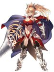 1girl age_progression armor bikini_armor blonde_hair breasts cape cleavage closed_mouth collarbone commentary_request fate/grand_order fate_(series) full_body green_eyes highres horns large_breasts leotard long_hair looking_at_viewer mordred_(fate) mordred_(fate)_(all) nasaniliu pauldrons ponytail simple_background sword toned weapon white_background