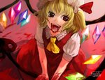 1girl ascot blonde_hair blood blood_in_mouth blood_on_face crystal dated fangs flandre_scarlet gradient gradient_background hat hat_ribbon itirirenn laevatein looking_at_viewer mob_cap open_mouth puffy_sleeves red_background red_eyes ribbon shirt short_hair short_sleeves side_ponytail signature skirt skirt_set smile solo touhou vest wings