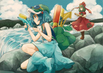 2girls aqua_skirt backpack bad_id bad_pixiv_id bag bat blue_eyes blue_sky boots cloud day dress forest frilled_dress frills goggles goggles_on_head green_eyes green_hair hair_bobbles hair_ornament hair_ribbon hat kagiyama_hina kawashiro_nitori long_dress medium_skirt moke_(gaton) multiple_girls nature one_knee outdoors print_dress radio red_dress ribbon river shirt skirt sky sleeveless sleeveless_shirt stone touhou two_side_up walkie-talkie water water_gun waterfall
