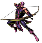 1boy arrow bow_(weapon) clint_barton drawing_bow hawkeye_(marvel) highres holding holding_arrow holding_bow_(weapon) holding_weapon jumping male_focus marvel marvel_vs._capcom marvel_vs._capcom_3 mask mori_toshiaki muscle official_art solo weapon