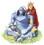 2boys alphonse_elric animal animal_on_head antenna_hair apron armor black_shirt blonde_hair blush brothers cat cat_on_head coat edward_elric expressionless flamel_symbol full_armor full_body fullmetal_alchemist gloves grass helmet male_focus multiple_boys on_head red_coat resting shaded_face shirt siblings simple_background sitting standing sweatdrop tabixneko too_many too_many_cats white_background yellow_eyes