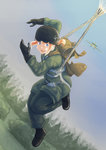 1girl absurdres airplane blonde_hair blue_eyes commentary dutch_angle erica_(naze1940) falling full_body germany gloves grass helmet highres long_hair military military_uniform open_mouth original parachute scared sky soldier solo tree uniform world_war_ii