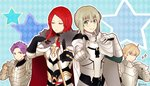 2boys 2girls airgetlam_(fate) armor bedivere blonde_hair cape carnival_phantasm closed_eyes dancing fate/extra fate/grand_order fate_(series) gauntlets gawain_(fate/extra) gawain_(fate/grand_order) gloves hand_on_own_chest jewelry knights_of_the_round_table_(fate) lancelot_(fate/grand_order) looking_at_viewer morii_shizuki multiple_boys multiple_girls parody pointing pointing_at_viewer purple_hair red_hair ring sparkle super_affection tristan_(fate/grand_order)