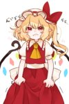 1girl ascot blonde_hair closed_mouth commentary flandre_scarlet frown gotoh510 hat hat_ribbon highres looking_at_viewer mob_cap pointy_ears red_eyes red_ribbon red_skirt ribbon simple_background skirt skirt_set solo tears touhou trembling vest white_background white_hat wings
