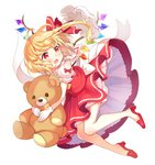 1girl ascot bangs bare_shoulders blonde_hair bloomers blush commentary_request crystal eyebrows_visible_through_hair flandre_scarlet full_body gloves hair_ribbon hat hat_removed headwear_removed high_heels highres holding holding_stuffed_animal long_hair mob_cap one_side_up open_mouth paragasu_(parags112) petticoat puffy_short_sleeves puffy_sleeves red_eyes red_footwear red_ribbon red_skirt red_vest ribbon shirt short_sleeves shoulder_cutout simple_background skirt skirt_set solo stuffed_animal stuffed_toy teddy_bear touhou underwear vest white_background white_bloomers white_gloves white_headwear white_shirt wings yellow_neckwear