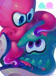 2others ayumi_(830890) blue_eyes commentary eye_contact green_skin highres ink inkling looking_at_another multiple_others octoling octopus pink_skin purple_eyes shiny shiny_skin signature simple_background splatoon_(series) splatoon_2 squid suction_cups tentacles white_background