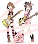 2girls alternate_costume aqua_eyes asymmetrical_bangs asymmetrical_hair bangs bare_legs bass_guitar black_footwear black_hair black_legwear blue_eyes blush_stickers boots breasts brown_footwear brown_hair choker cleavage crop_top cross-laced_footwear dress earrings electric_guitar full_body guitar hair_over_one_eye hair_ribbon highres instrument jazz_bass jewelry jigglypuff leather leather_boots looking_at_viewer mary_(pokemon) medium_hair microphone midriff miniskirt multiple_girls music musical_note navel open_mouth pink_dress pink_legwear pokemon pokemon_(creature) pokemon_(game) pokemon_swsh ribbon short_dress short_hair shuri_(84k) simple_background singing skirt sleeveless sleeveless_dress small_breasts smile spaghetti_strap staff_(music) standing stratocaster striped striped_legwear tattoo thighhighs thighs torn_clothes torn_legwear twintails twitter_username white_background yuuri_(pokemon)