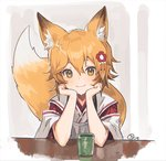 1girl :3 animal_ear_fluff animal_ears blonde_hair chin_rest closed_mouth commentary cup flower fox_ears fox_girl fox_tail hair_flower hair_ornament hands_up japanese_clothes kimono looking_at_viewer nagu red_flower senko_(sewayaki_kitsune_no_senko-san) sewayaki_kitsune_no_senko-san short_hair signature smile solo tail white_kimono yellow_eyes