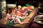 4girls :d alcohol antenna_hair artist_name asahi_breweries bare_legs barefoot beer beer_can blonde_hair breasts brown_eyes can chopsticks closed_eyes cup drinking_glass feet_up food fruit green_eyes hairband half-closed_eyes highres in_food junkpuyo kikkoman large_breasts leaf lemon lemon_slice long_hair looking_at_viewer lying makizushi minigirl multiple_girls naked_towel nigirizushi object_hug on_side on_stomach open_mouth orange_hair original personification pink_hair ponytail red_hair revision sleeping smile soy_sauce sushi sushi_geta table towel
