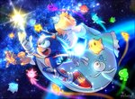 1girl 2boys blonde_hair chiko_(mario) commentary commentary_request crown dress earrings gloves green_eyes jewelry mario_(series) multiple_boys poroi_(poro586) red_footwear rockman rosalina signature sonic sonic_the_hedgehog space star starman_(rockman) super_smash_bros. wand wisp_(sonic)