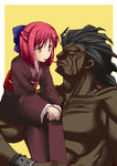 1boy 1girl berserker black_skin blush crossover fate/stay_night fate_(series) food_in_mouth hairband japanese_clothes kimono kohaku muscle pocky pocky_kiss red_hair shared_food tsukihime type-moon urako