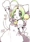 1girl ;d ahoge animal_ears animal_hat apron arm_up bangs bell black_bow black_dress bow chita_(ketchup) dejiko di_gi_charat dress eyebrows_visible_through_hair fang forehead green_eyes green_hair hair_bell hair_ornament hat jingle_bell looking_at_viewer mittens one_eye_closed open_mouth parted_bangs puffy_short_sleeves puffy_sleeves short_sleeves smile solo tail tail_raised white_apron white_headwear white_mittens