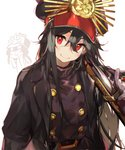 1boy 1girl black_hair chibi coat fate/grand_order fate_(series) gun hat long_hair military_hat namie-kun oda_nobukatsu_(fate/grand_order) oda_nobunaga_(fate) oda_uri over_shoulder red_eyes rifle smile weapon weapon_over_shoulder