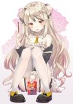 1girl absurdres bangs between_legs black_footwear blush brown_background brown_eyes brown_hair commentary_request desert_eagle_(girls_frontline) dress english_text eyebrows_visible_through_hair fingernails floral_background flower food full_body garter_straps girls_frontline gradient gradient_background hand_between_legs hand_up highres holding holding_flower hyonee knees_up long_hair long_sleeves looking_at_viewer nail_polish open_mouth pigeon-toed pink_nails pocky pocky_day shoes sitting solo strapless strapless_dress thighhighs two_side_up v-shaped_eyebrows very_long_hair white_background white_dress white_legwear