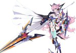 1girl blue_eyes bodysuit breasts cape cleavage commentary_request hair_ornament headgear highres large_breasts long_hair maria_cadenzavna_eve mochi_hanpen navel navel_cutout pink_hair polearm senki_zesshou_symphogear shield solo spear symphogear_pendant thighhighs very_long_hair weapon white_background