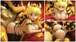 1boy 1girl 3d armlet ass bed bent_over blonde_hair blue_eyes bowser bracelet choker crown doggystyle highres horns jewelry looking_at_viewer mario_(series) monster monster_boy multiple_views panties panties_aside penis princess_peach sex shell source_filmmaker spiked_bracelet spiked_choker spiked_shell spikes super_mario_bros. thong underwear urbanator