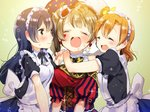 3girls apron bangs blue_hair blush closed_eyes closed_mouth commentary_request eyebrows_visible_through_hair girl_sandwich grey_hair hair_between_eyes hug kousaka_honoka long_hair love_live! love_live!_school_idol_festival love_live!_school_idol_project maid maid_apron maid_headdress minami_kotori mofun multiple_girls one_side_up open_mouth orange_hair sandwiched smile sonoda_umi yellow_eyes