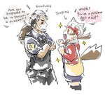 1boy 1girl animal_ears commentary crossover english kotone_(pokemon) mightyena njike personification pokemon pokemon_(game) pokemon_hgss pokemon_rse police police_uniform ponytail tail twitch_plays_pokemon uniform wolf_ears wolf_tail