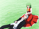 1boy 1girl arm_at_side ascot belt buttons closed_eyes closed_mouth collarbone commentary_request crossover field frilled_skirt frills grass green_hair grey_hair hair_between_eyes hand_on_another's_face hand_rest highres ho-ri- houndstooth jacket kazami_yuuka lap_pillow long_skirt long_sleeves looking_at_another lying narukami_yuu on_back open_clothes open_jacket pants parted_lips persona persona_4 red_eyes red_skirt red_vest school_uniform shirt short_hair sitting skirt skirt_set sleeping slit_pupils smile touhou unbuttoned vest white_shirt yasogami_school_uniform