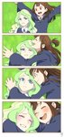 2girls 4koma :d ;d ^_^ ^o^ anime_coloring blue_eyes blush brown_hair cloak closed_eyes comic diana_cavendish grass green_hair happy highres hood hooded_cloak hug kagari_atsuko little_witch_academia long_hair long_sleeves looking_at_another lying multiple_girls on_back on_grass one_eye_closed open_mouth outstretched_arms red_eyes school_uniform smile spread_arms textless yuri