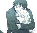 1boy 1girl black_hair blonde_hair closed_eyes coat eyebrows_visible_through_hair fullmetal_alchemist fuyufuchi gloves hug long_hair lowres monochrome riza_hawkeye roy_mustang short_hair simple_background sweatdrop white_background