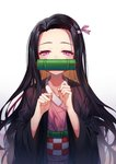 1girl bamboo bangs black_hair blush brown_hair checkered collarbone commentary_request fingernails forehead gradient gradient_background grey_background hair_ribbon half-closed_eyes hands_up highres japanese_clothes kamado_nezuko kimetsu_no_yaiba kimono long_hair long_sleeves looking_at_viewer mouth_hold multicolored_hair obi open_clothes parted_bangs pink_eyes pink_kimono pink_ribbon ribbon sash solo sugar_(dndi888) two-tone_hair upper_body very_long_hair white_background wide_sleeves