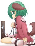 1girl animal_ears chain collar commentary_request dress green_eyes green_hair highres jagabutter kasodani_kyouko long_sleeves looking_at_viewer pink_dress sitting smile solo tail touhou wariza