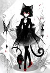 1girl absurdres animal_ears artist_name black_choker black_dress black_hair black_legwear bow bowtie bug butterfly cat_ears cat_tail choker commentary_request crescent crescent_choker dress eyelashes flower full_body high_heels highres holding holding_flower insect lantern limited_palette looking_at_viewer nail_polish original pantyhose petals red_bow red_eyes red_flower red_footwear red_nails red_neckwear red_rose rose rose_petals sheya signature simple_background smile solo spot_color standing tail white_background