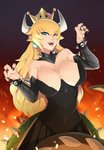 1girl absurdres black_collar black_nails black_skirt blonde_hair blue_earrings blue_eyes bowsette bracelet breastplate breasts bustier claw_pose cleavage collar crown earrings eyebrows_visible_through_hair fangs fire hair_between_eyes highres horns jewelry large_breasts long_hair looking_at_viewer mario_(series) nail_polish new_super_mario_bros._u_deluxe open_mouth pleated_skirt pointy_ears skirt solo spiked_bracelet spiked_collar spiked_shell spiked_tail spikes strapless super_crown tail turtle_shell xkit