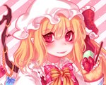 1girl :p bangs blonde_hair blush bow bowtie commentary crepe crystal diagonal-striped_background diagonal_stripes eyebrows_visible_through_hair flandre_scarlet food frilled_bow frilled_ribbon frilled_shirt_collar frills fruit hair_between_eyes hat hat_ribbon long_hair looking_at_viewer macaron mob_cap one_side_up pink_background pink_bow pink_neckwear pink_outline plaid plaid_bow pocky pointy_ears portrait puffy_short_sleeves puffy_sleeves red_eyes red_ribbon red_vest ribbon shan shirt short_sleeves smile solo sprinkles strawberry striped striped_background striped_bow symbol_commentary tongue tongue_out touhou vest white_background white_headwear white_shirt wings yellow_bow yellow_neckwear