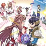 apron armor bangs blush chocolate collarbone fan_la_norne feather_hair flower gloves hair_ribbon hugo_el_superbia japanese_clothes long_hair lora_(xenoblade_2) niameresp parted_lips pauldrons red_hair ribbon short_hair simple_background skirt smile wadatsumi_(xenoblade) xenoblade_(series) xenoblade_2 xenoblade_2:_ogon_no_kuri_ira yellow_eyes