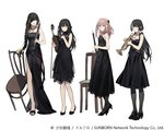 4girls :d alternate_costume anti-rain_(girls_frontline) bangs belt black_dress black_eyes black_footwear black_gloves black_hair black_legwear blonde_hair blue_eyes blush braid breasts brown_eyes brown_hair bullet clarinet closed_mouth collarbone dress duoyuanjun expressionless eyebrows_visible_through_hair eyepatch fingerless_gloves girls_frontline gloves green_hair hair_between_eyes hair_ornament hand_up heterochromia high_heels highres holding holding_instrument instrument jewelry long_hair looking_at_viewer low_twintails m16a1_(girls_frontline) m4a1_(girls_frontline) medium_breasts mole mole_under_eye multicolored_hair multiple_girls necklace oboe official_art one_eye_closed open_mouth open_toe_shoes pantyhose pink_hair red_eyes ro635_(girls_frontline) scar scar_across_eye side_slit sidelocks simple_background small_breasts smile st_ar-15_(girls_frontline) strapless strapless_dress streaked_hair trumpet turquoise_(stone) twintails violin wavy_mouth white_background white_hair yellow_eyes