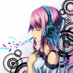 1girl bare_shoulders closed_eyes hand_on_own_chest headphones izumi_sai long_hair megurine_luka open_mouth profile purple_hair solo vocaloid