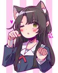 1girl :o animal_ears arms_up bangs black_hair blue_shirt blush buttons cat_ears chestnut_mouth commentary dochanhee english_commentary eyebrows_visible_through_hair hands_up heart korean long_sleeves looking_at_viewer neck_ribbon one_eye_closed original paw_pose purple_background red_ribbon ribbon sailor_collar shirt solo striped striped_background translation_request two-tone_background upper_body white_background white_sailor_collar yellow_eyes