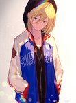 1boy aqua_eyes artist_name blonde_hair commentary_request enj! hood hood_up hoodie jacket jewelry male_focus necklace open_clothes open_jacket signature solo track_jacket upper_body v-neck yuri!!!_on_ice yuri_plisetsky