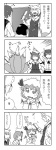 4koma 5girls animal_ears azumanga_daiou bad_id bow comic detached_sleeves hair_ornament hat kochiya_sanae long_hair monochrome multiple_girls mystia_lorelei nattororo parody remilia_scarlet short_hair tail touhou translated wriggle_nightbug yakumo_ran